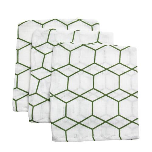 Briljant Baby hydrofiel washandje grid forrest - set van 3