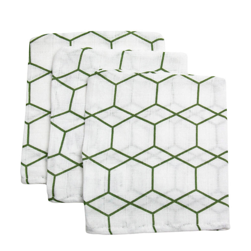 Briljant Baby hydrofiel washandje grid forrest - set van 3, Wit/groen