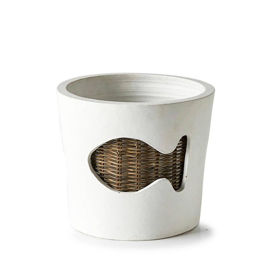 Riviera Maison bloempot Rustic Rattan Fish (L), Wit