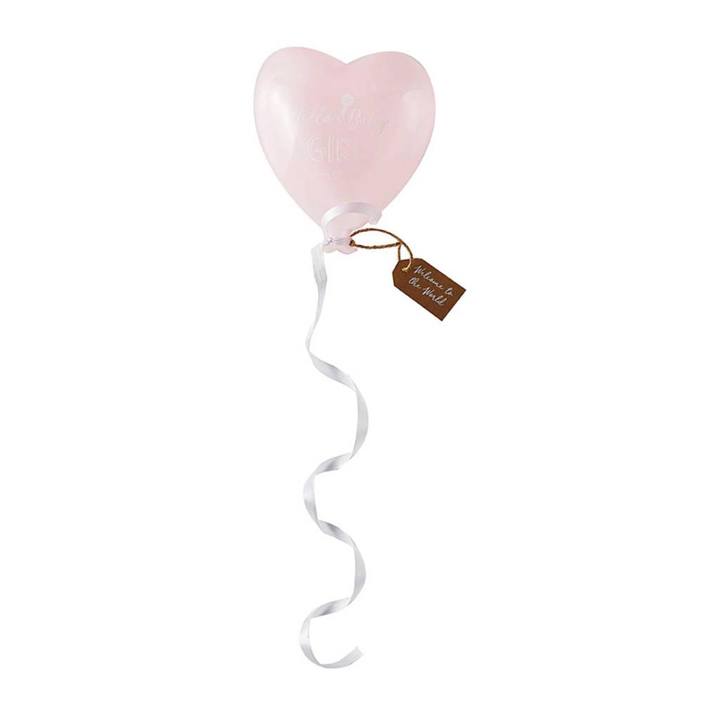 Riviera Maison glazen ballon Hello Baby Girl, Roze