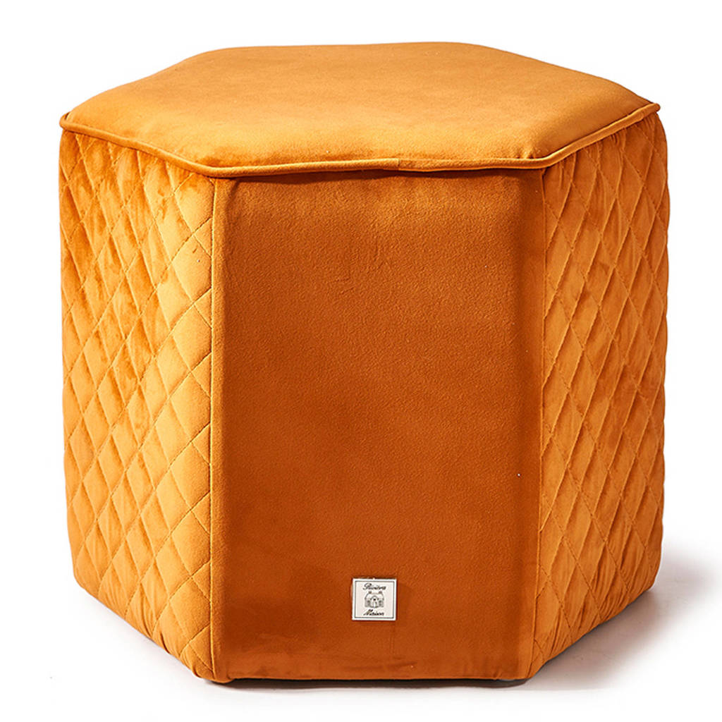 Riviera Maison poef Parklane fluweel oranje, Oranje