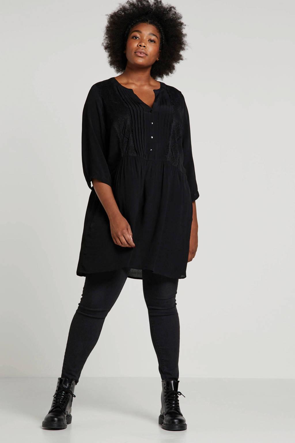 Zizzi tuniek met kant zwart, Zwart