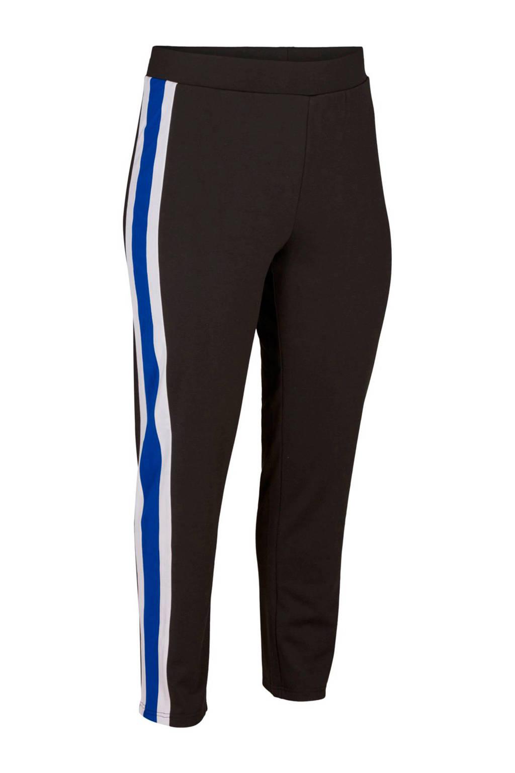 Zizzi legging zwart/blauw/wit, Zwart/blauw/wit