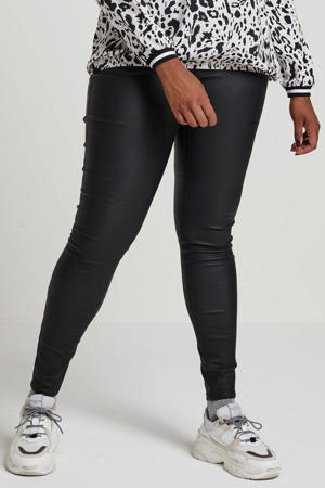 high waist slim fit broek Amy zwart