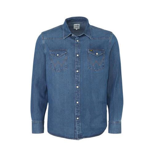 Wrangler regular fit denim overhemd blauw
