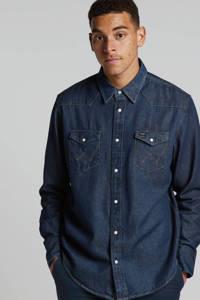 Wrangler regular fit denim overhemd donkerblauw, Donkerblauw