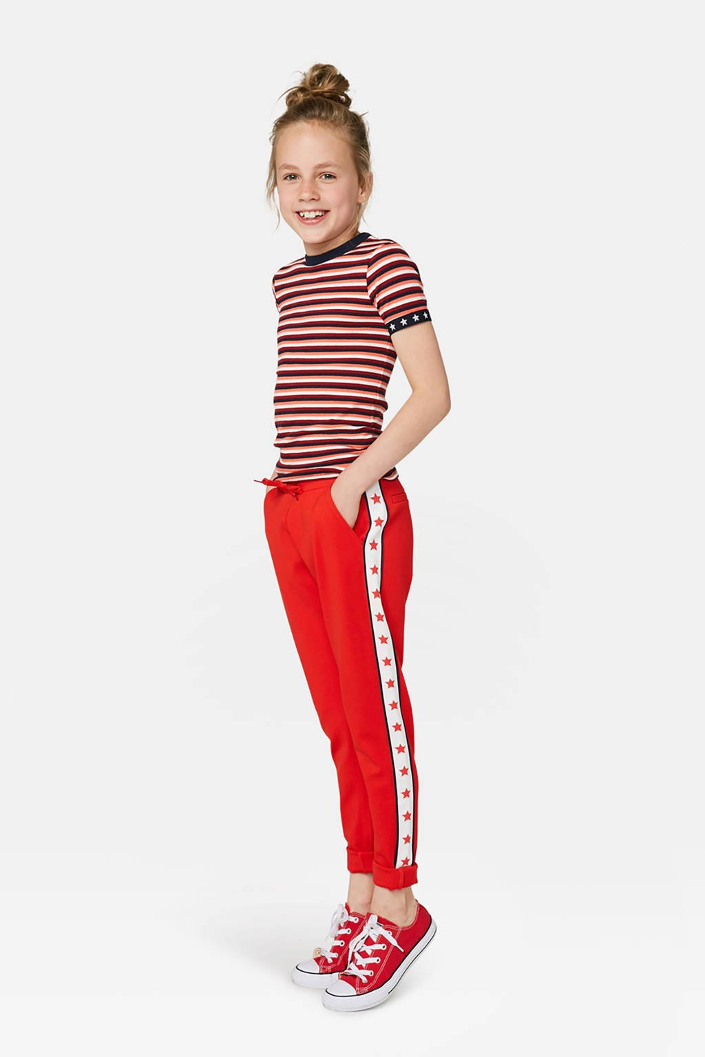 WE Fashion broek met zijstreep bright cherry, Bright Cherry