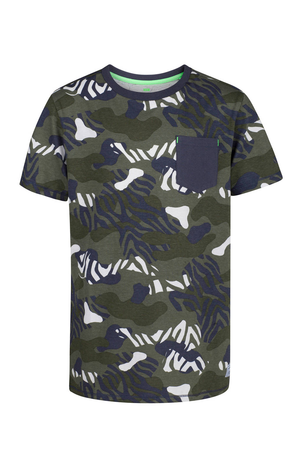 WE Fashion T-shirt met camouflageprint kaki/blauw