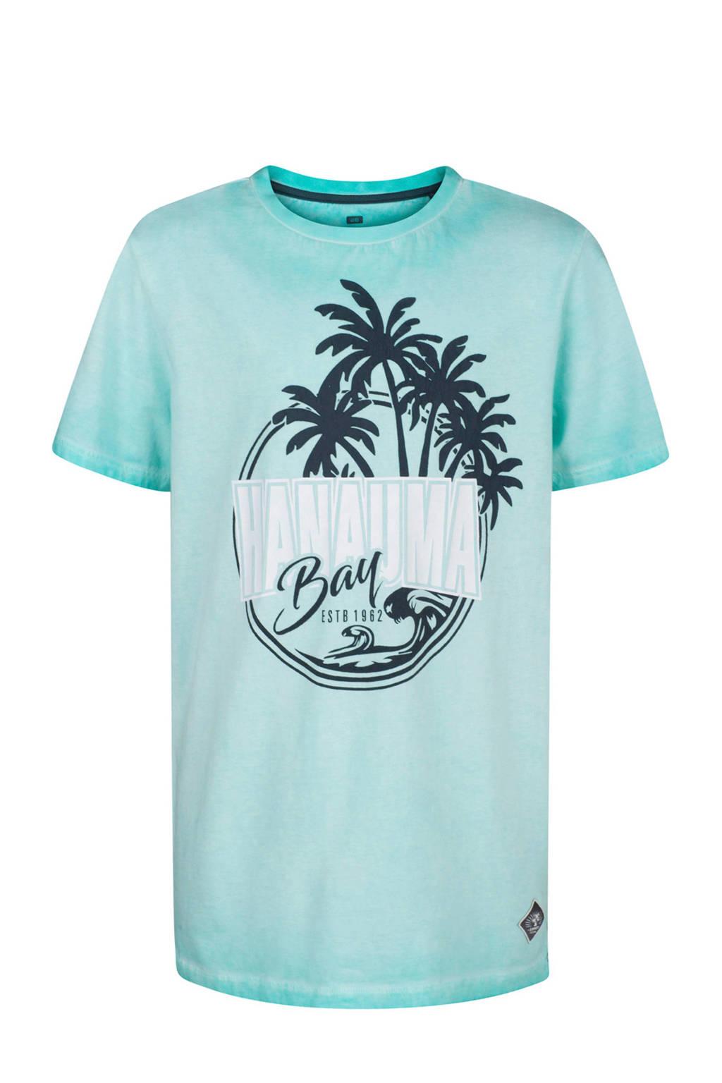 WE Fashion T-shirt met printopdruk blauw, Blauw/zwart/wit