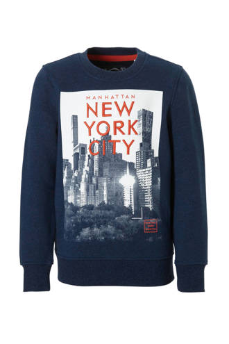Here & There sweater met New York printopdruk blauw