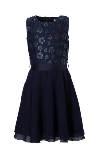 Here & There jurk met kant en bloemen blauw