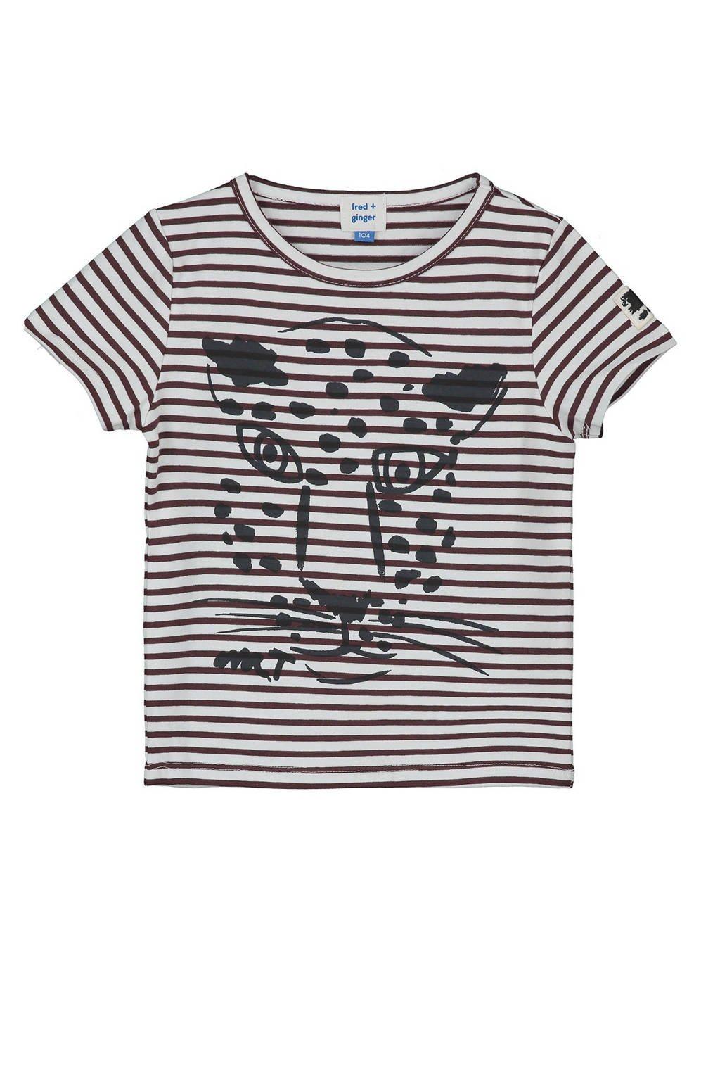 fred + ginger gestreept T-shirt met printopdruk rood, Donkerrood/wit