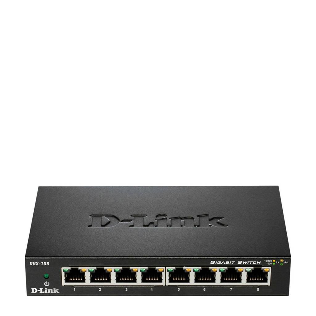 D-Link  DGS-108 netwerk switch, Zwart