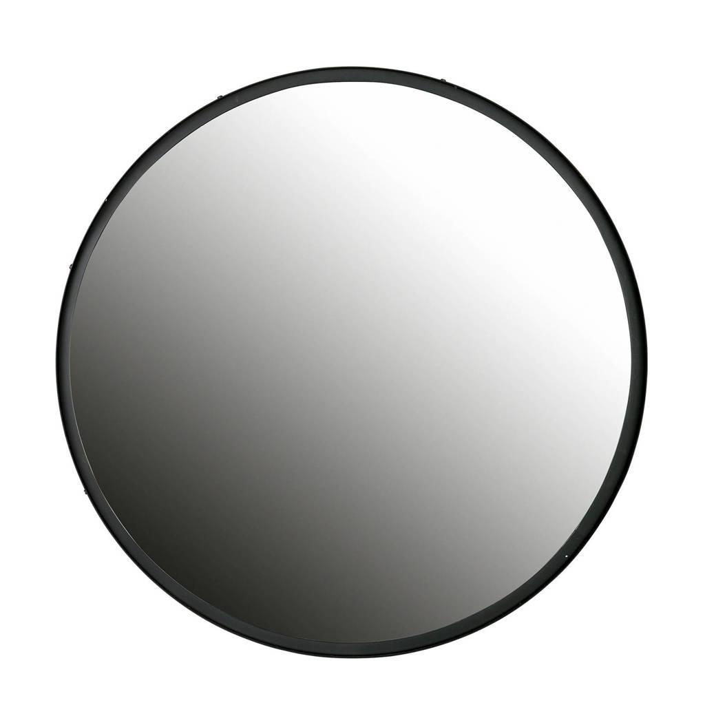 Woood spiegel (Ø56 cm) Lauren, Zwart
