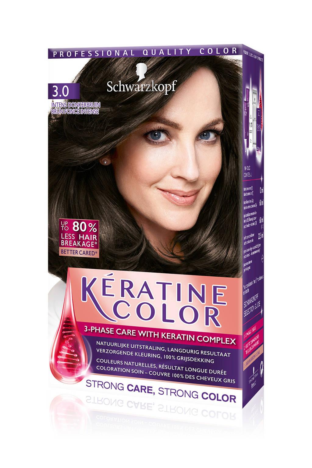 Schwarzkopf Keratine Color haarkleuring - 3.0 Intense Donkerbruin, 3.0 intens dbrn