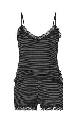 Elegant shortama met all over streepprint zwart/wit