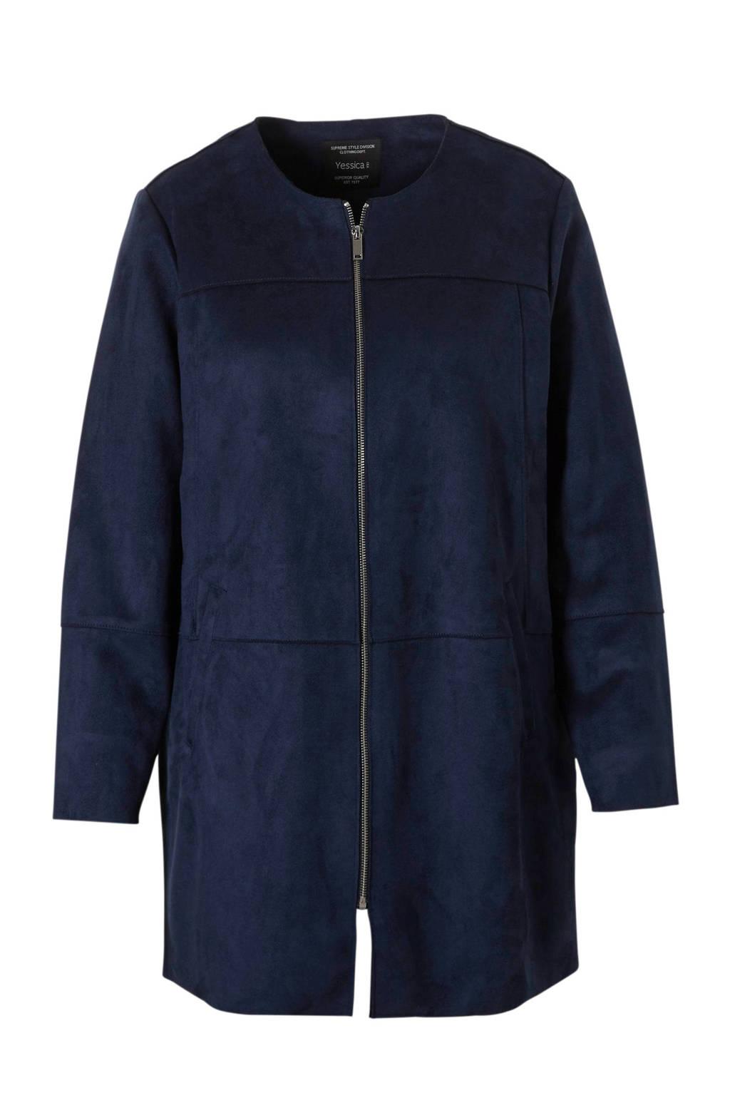 C&A XL Yessica imitatie suède jas donkerblauw, Donkerblauw