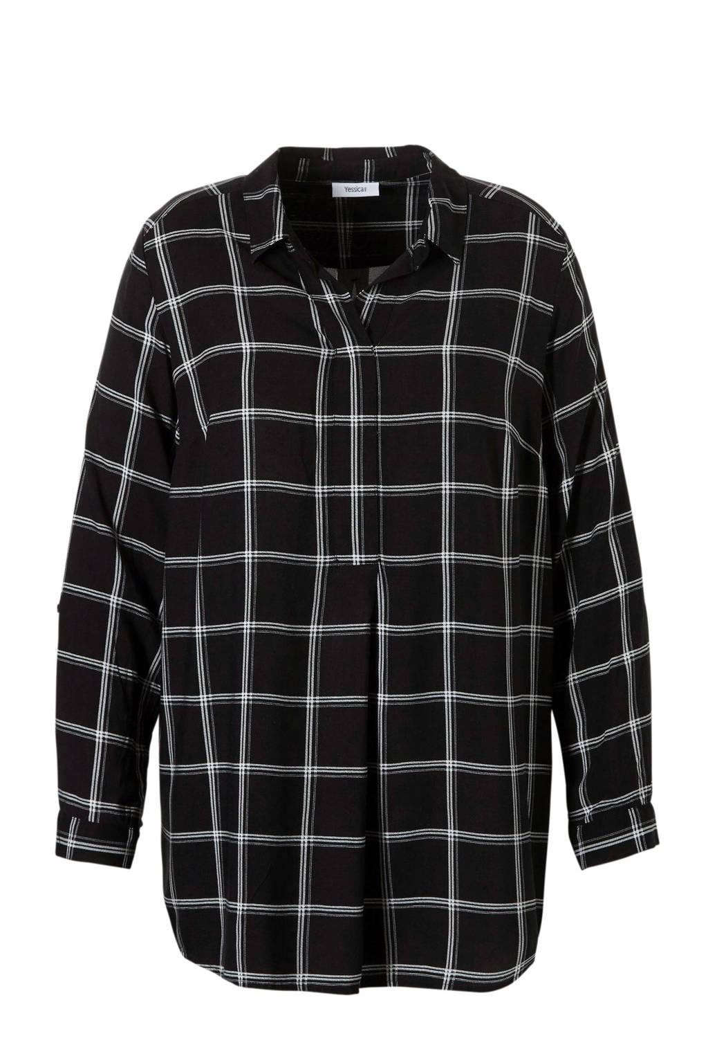 C&A XL Yessica geruite tuniek zwart, Zwart/wit