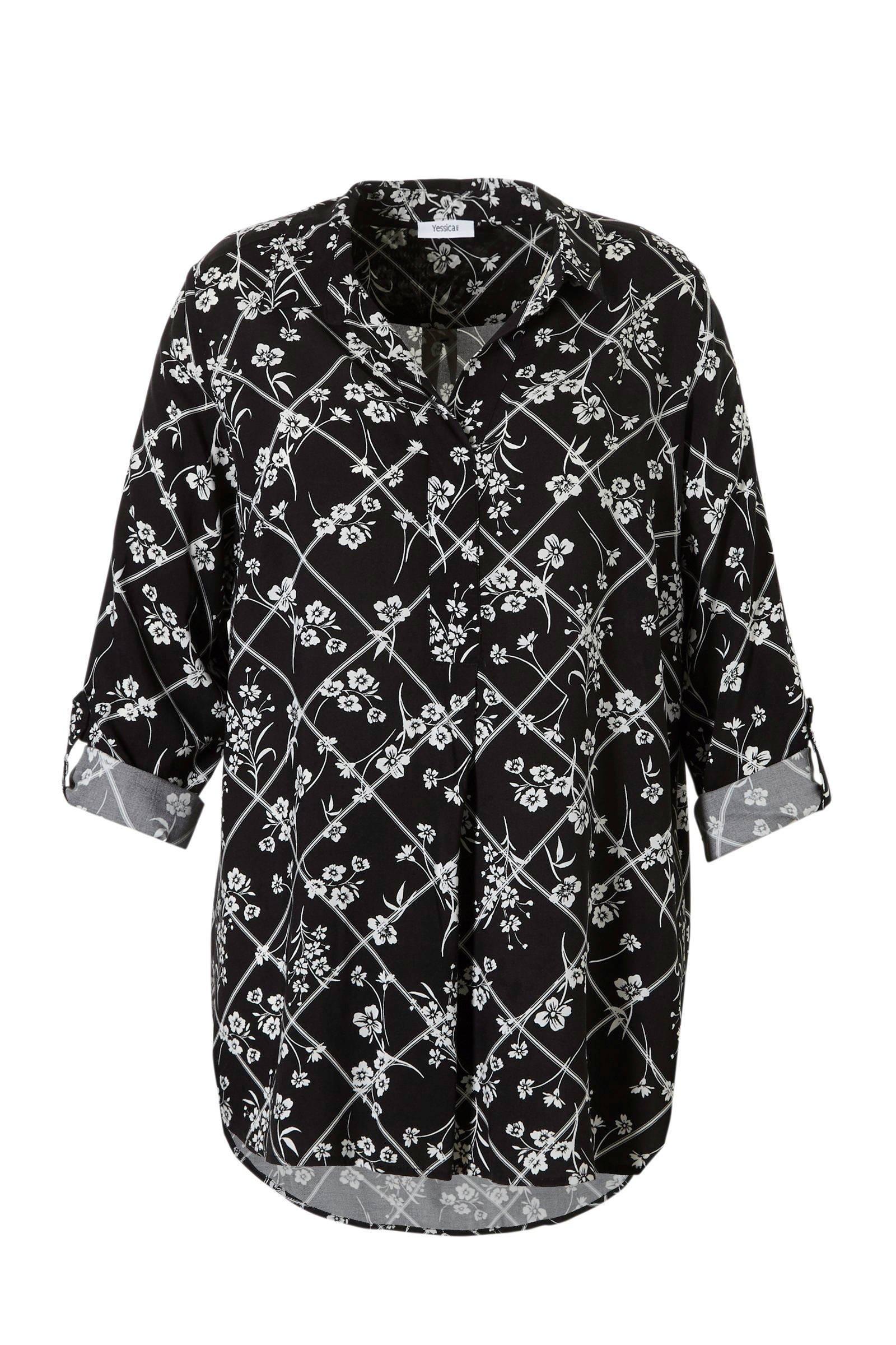 Yessica bloemenprint zwart tuniek C met geruit XL A vwHUR