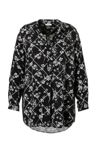 XL Yessica geruit tuniek met bloemenprint zwart