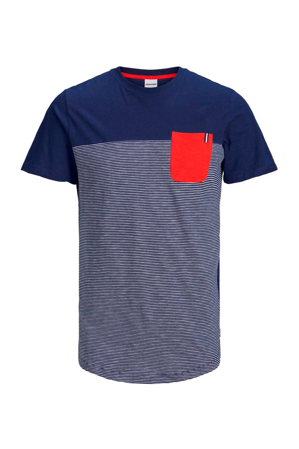 Jack & Jones Junior T-shirt Sect met korte mouwen en strepen marine, Marine/ Wit/ Rood