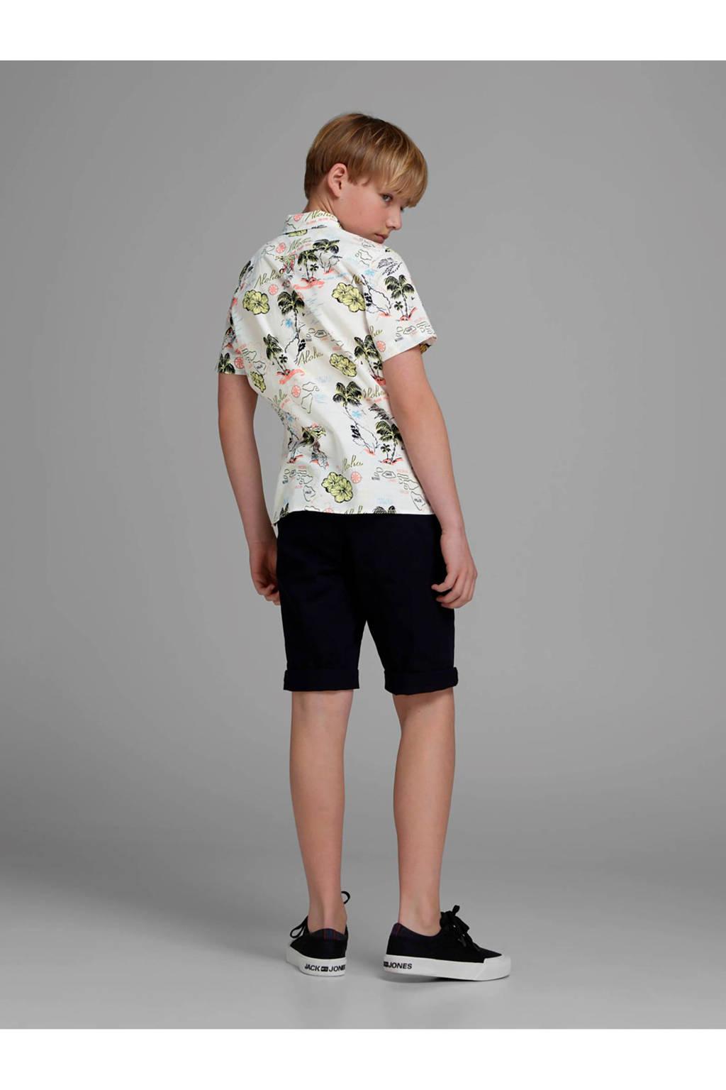 Jack & Jones Junior overhemd Noah met korte mouwen en bloemenprint wit, Wit/ geel/ zwart/ lichtoranje