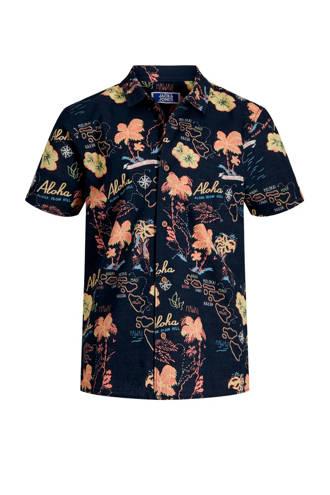 Junior overhemd Noah met korte mouwen en bloemenprint donkerblauw