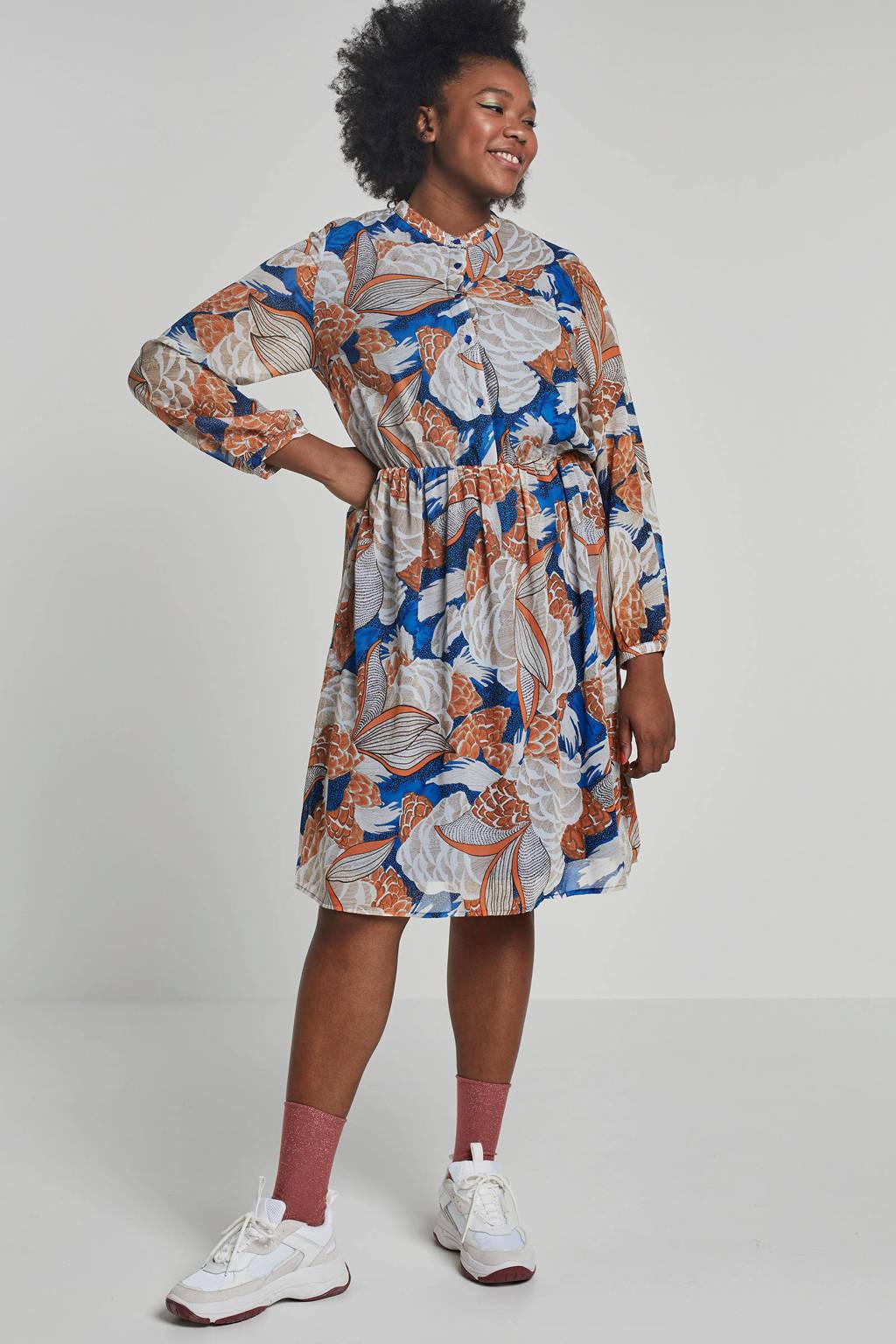 Studio Untold blousejurk met all over print, Oranje/ blauw/ beige