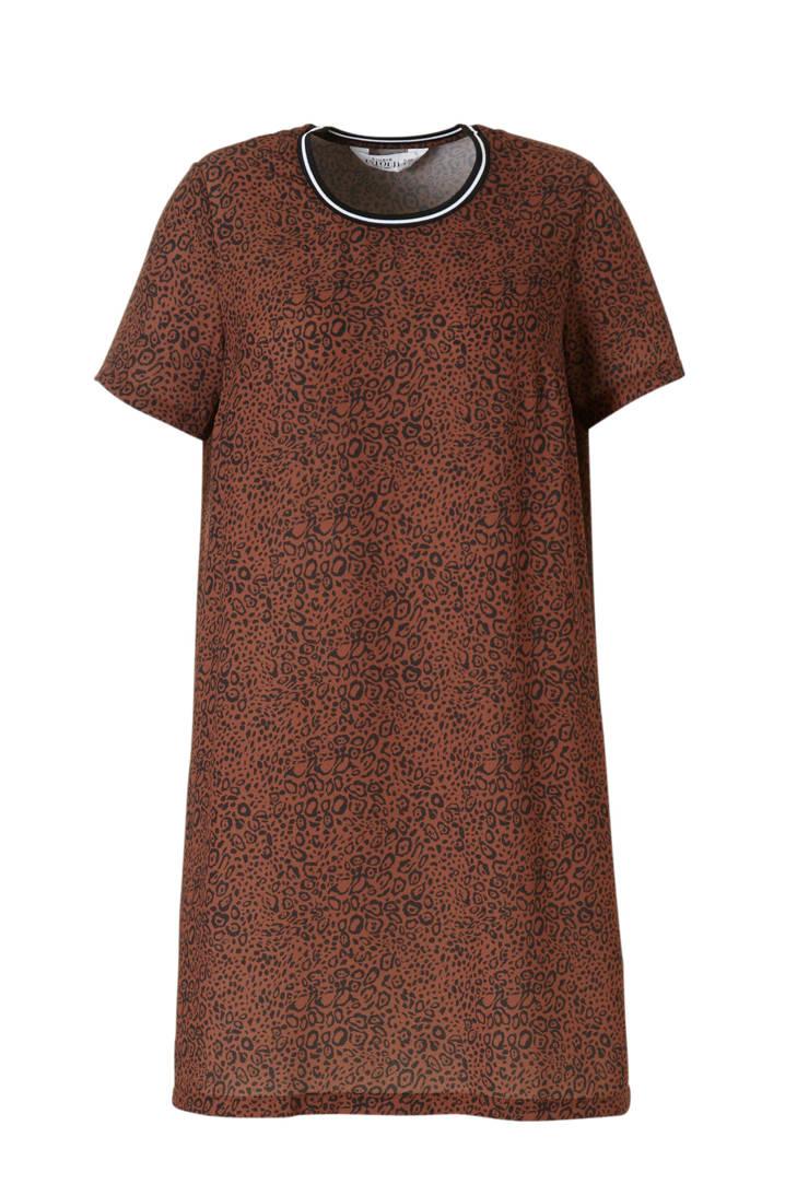 Untold jurk panterprint bruin Studio met PCqn66O