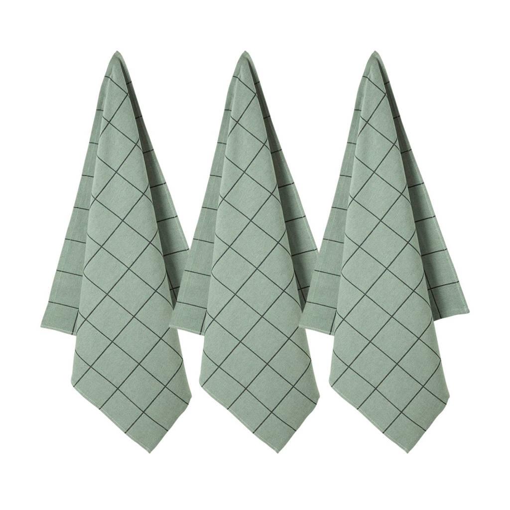 whkmp's own theedoek (65x60cm) (set van 3), Groen/zwart