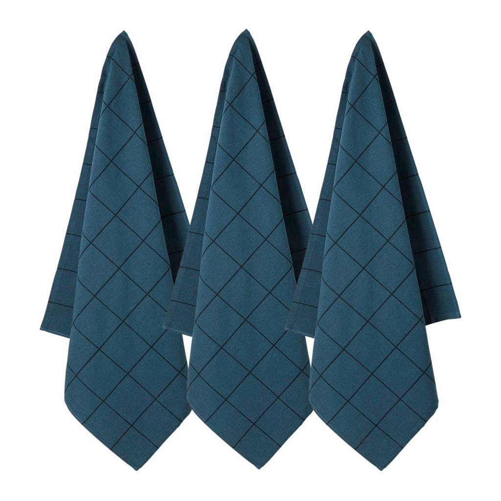 whkmp's own theedoek (65x60cm) (set van 3), Donkerblauw/zwart