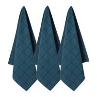 wehkamp home theedoek (65x60cm) (set van 3), Donkerblauw/zwart