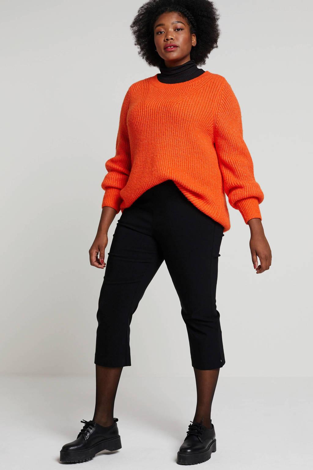 Ulla Popken cropped straight fit broek zwart, Zwart