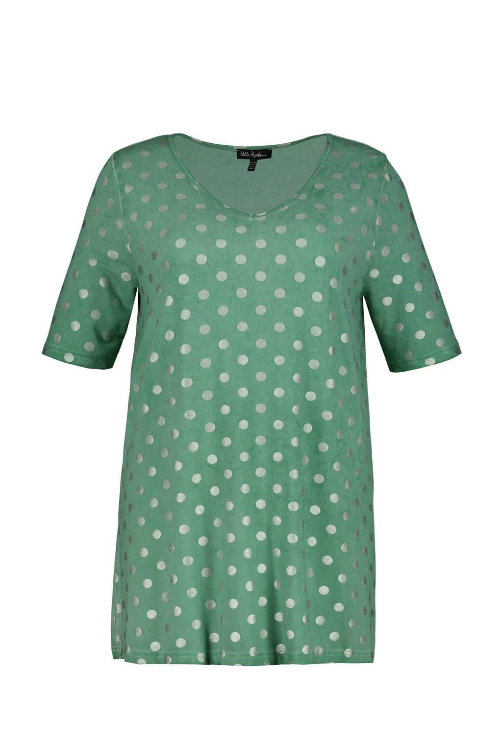 Ulla Popken T-shirt met stippen groen, Groen/wit