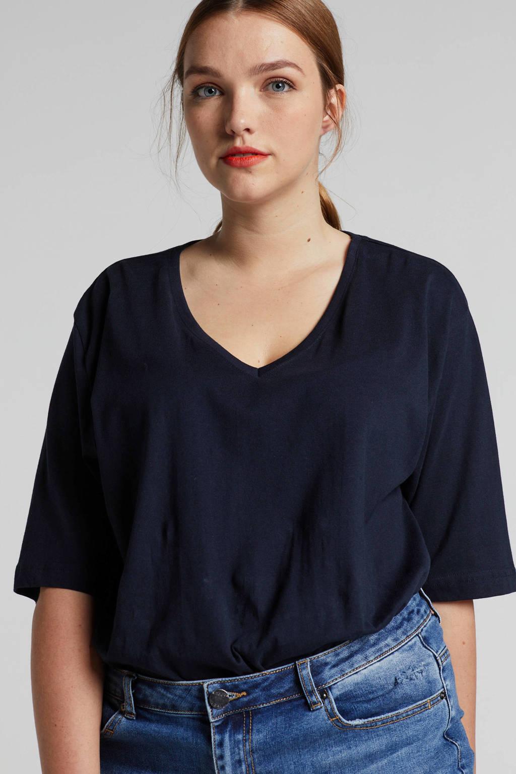 4c53f2e6c85 Ulla Popken T-shirt donkerblauw met V-hals, Donkerblauw