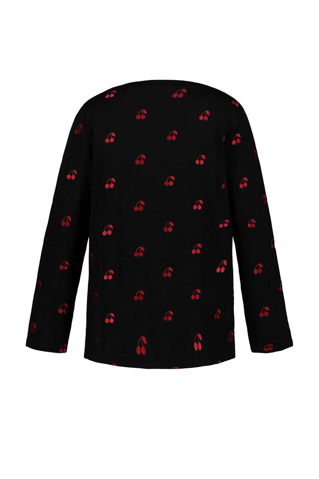 Ulla Popken T-shirt zwart met kersen, Zwart/rood