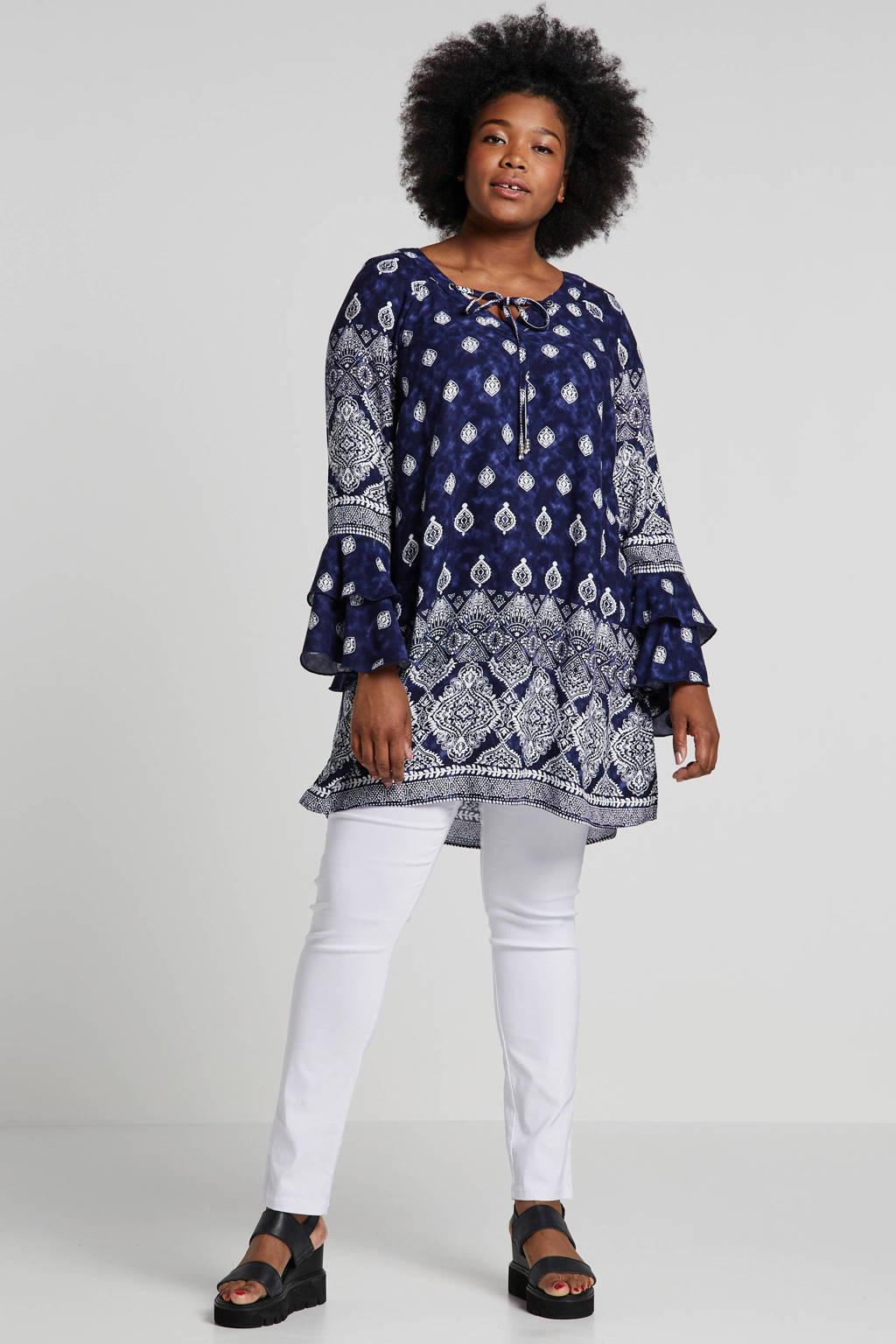 21c861bcc3d Ulla Popken blouse met all over print donkerblauw, Donkerblauw/wit