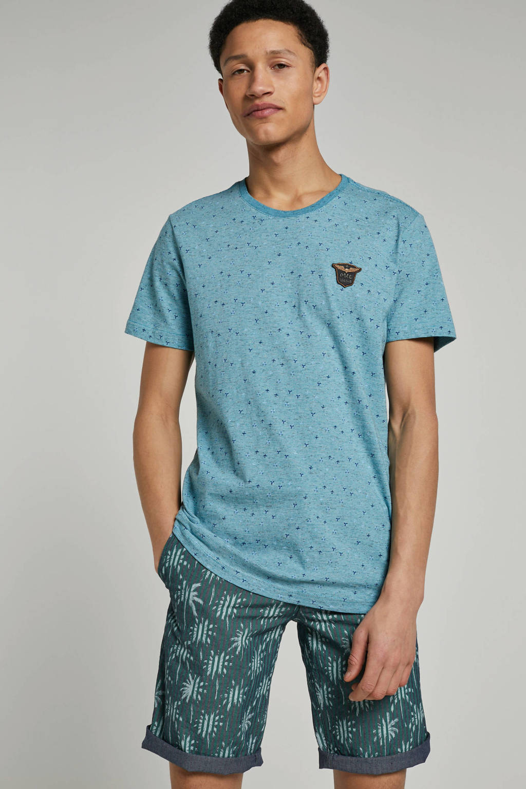 PME Legend T-shirt met printopdruk, Blauw/groen