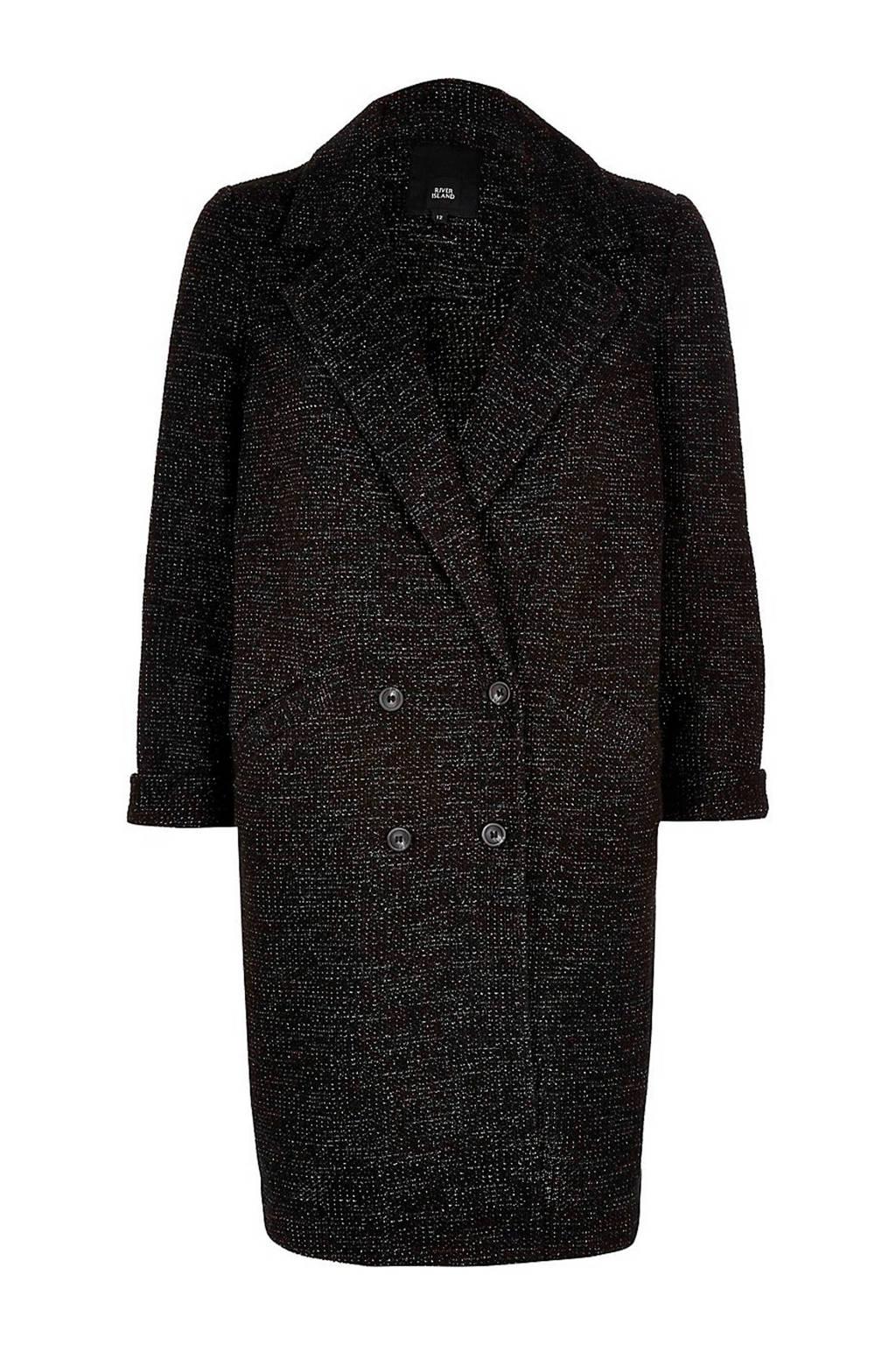River Island coat zwart, zwart/ wit