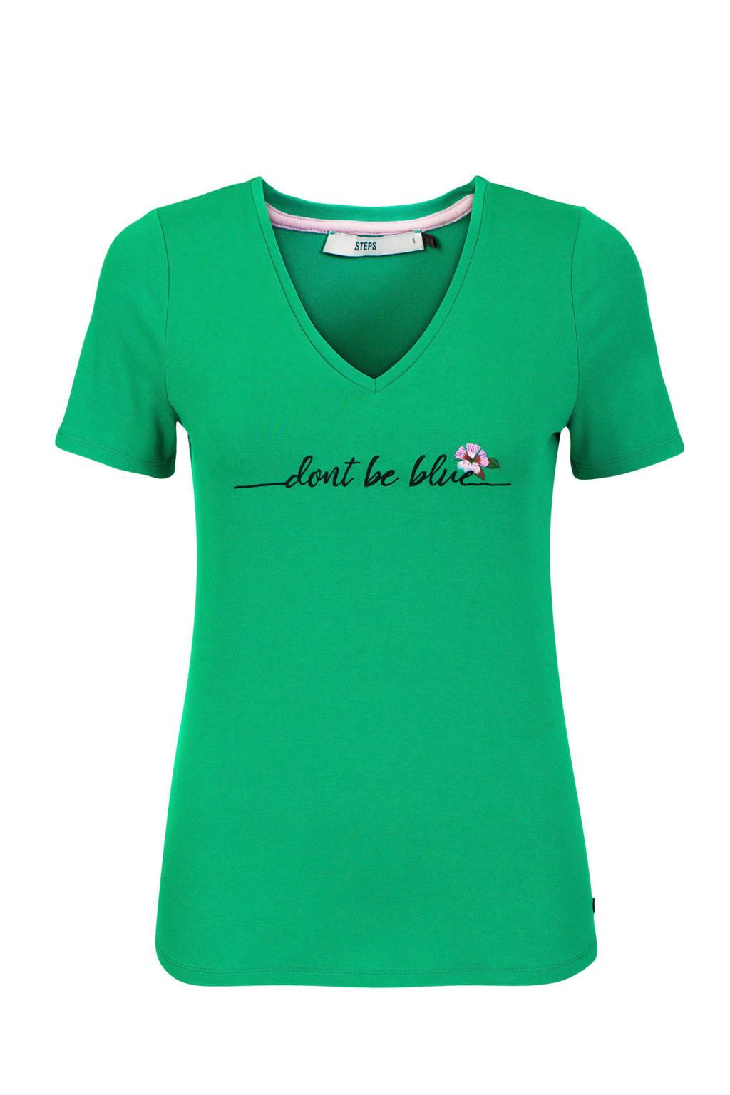 Steps T-shirt met tekst groen, Groen