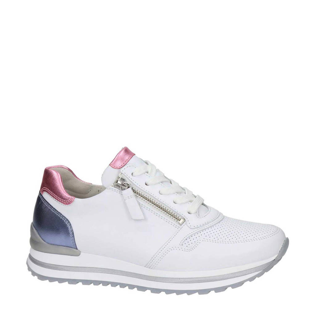 Gabor  leren sneakers wit, wit/metallic