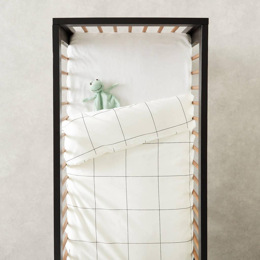 wehkamp home ledikant dekbedovertrek, Wit/zwart, Baby (100 cm breed)