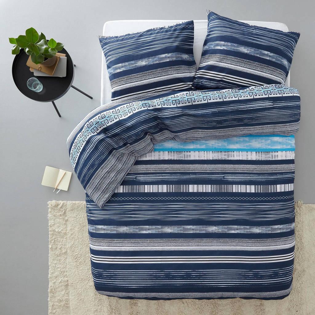 Sleeptime katoenen dekbedovertrek lits-jumeaux, Lits-jumeaux (240 cm breed), Blauw