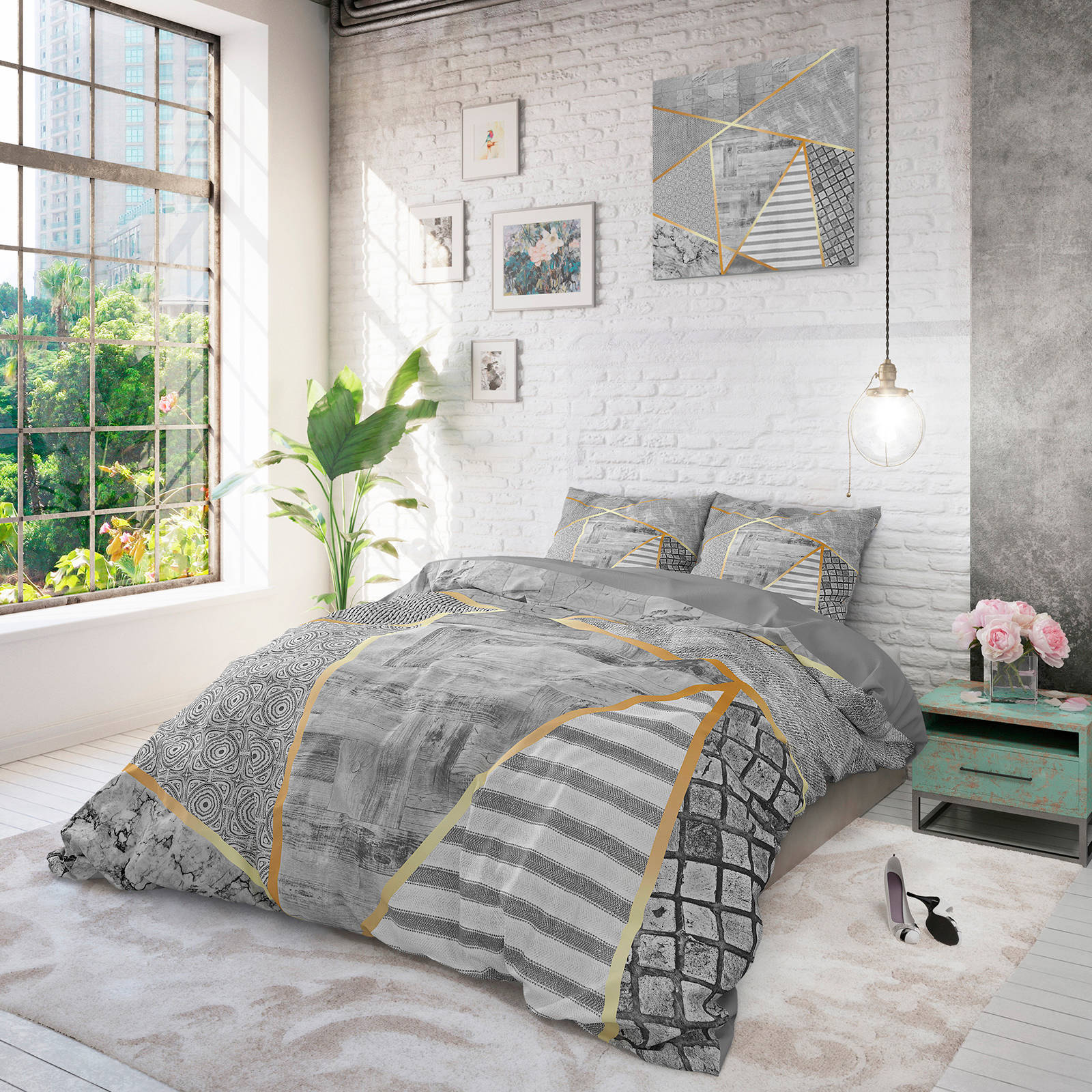 dreamhouse katoenen dekbedovertrek lits jumeaux grijs