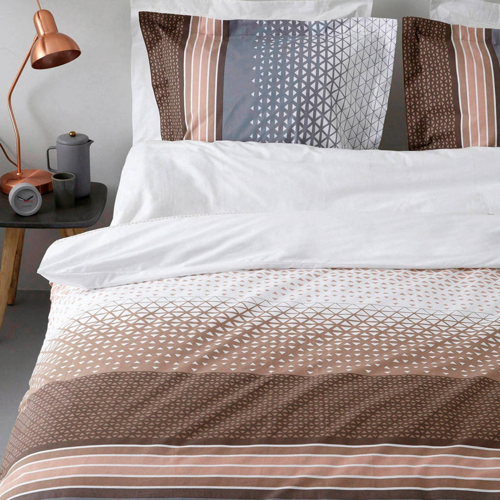 Vandyck katoenen dekbedovertrek lits-jumeaux, Lits-jumeaux (240 cm breed), Bruin