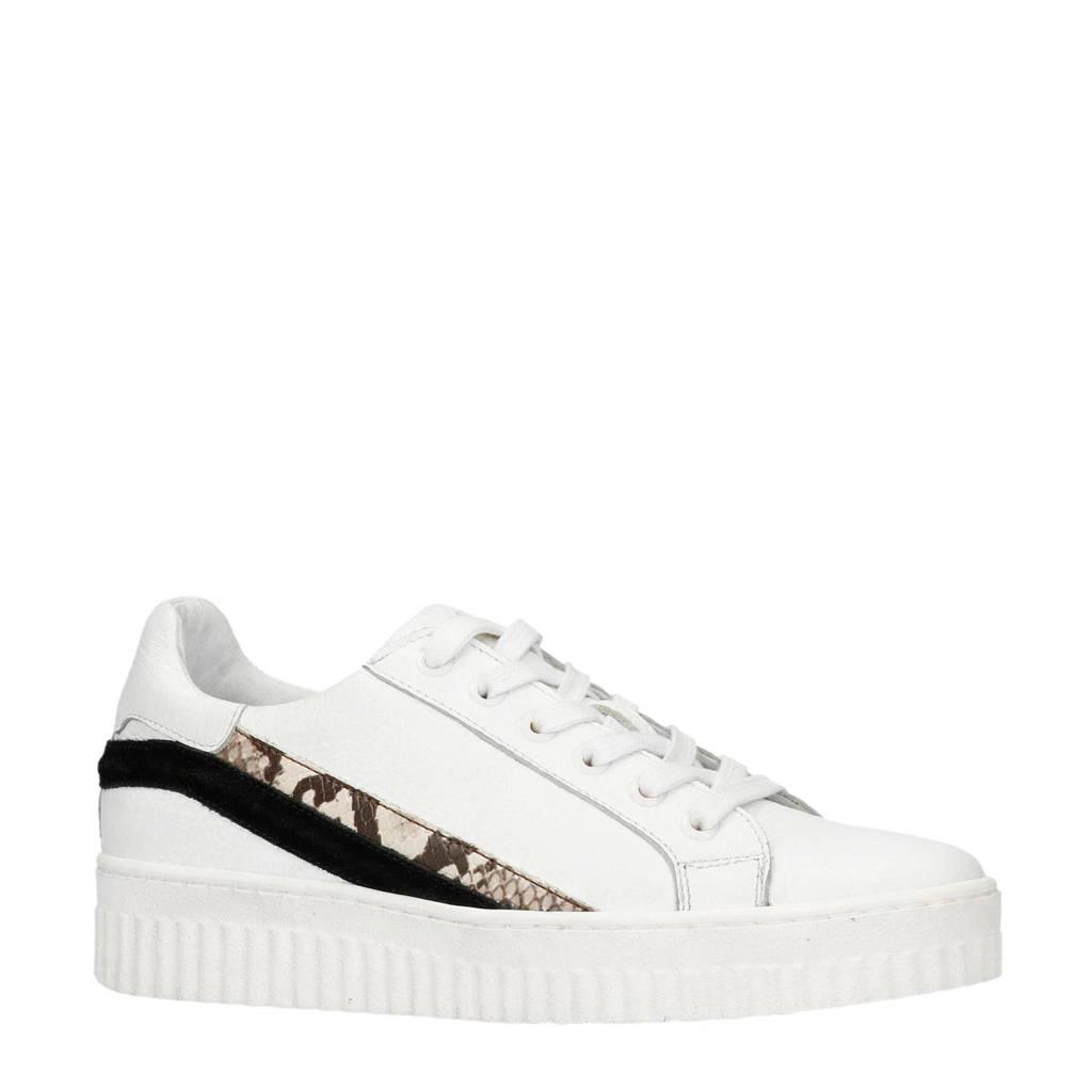 Manfield  leren sneakers wit, Wit/zwart