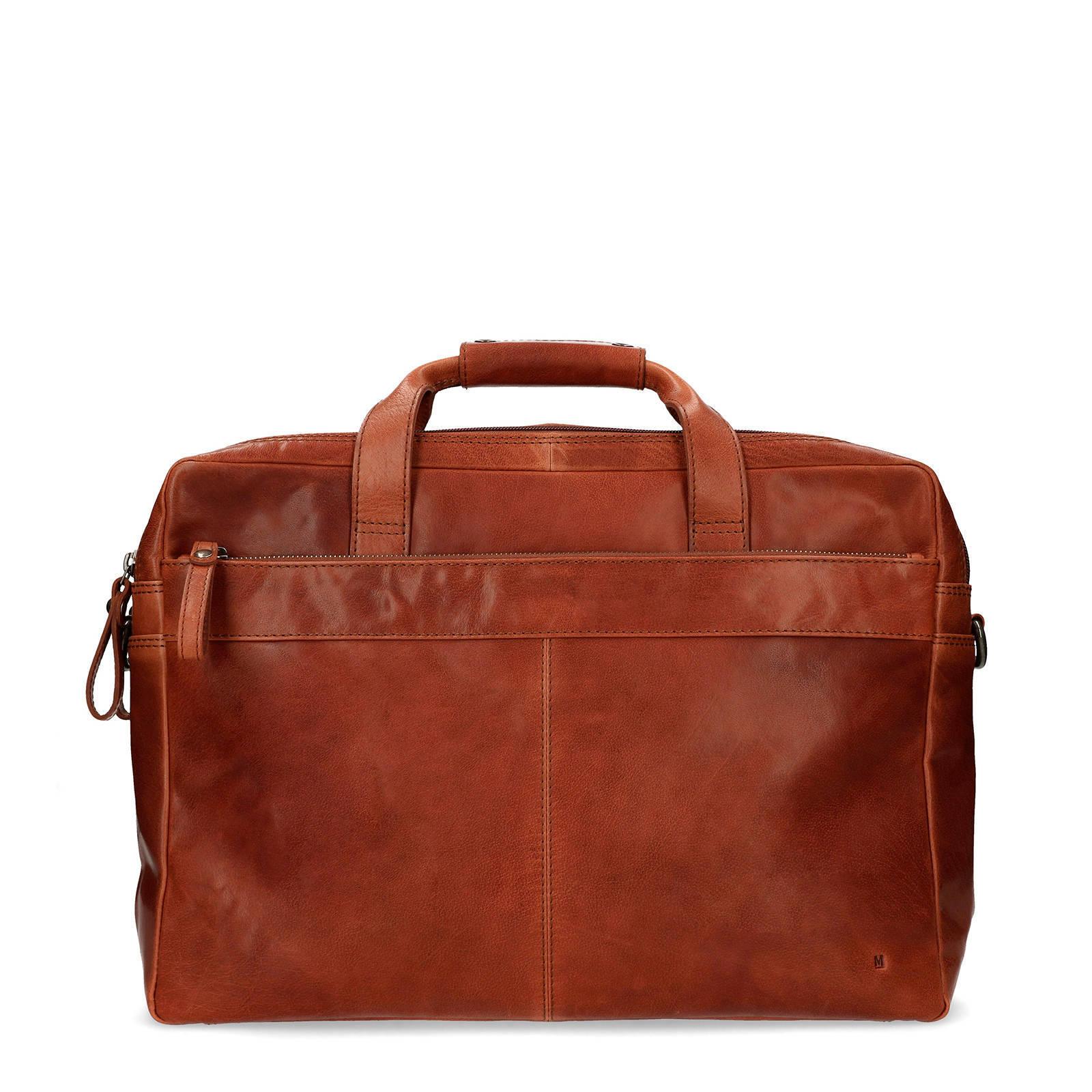 561b4cfcade Manfield leren laptoptas cognac | wehkamp