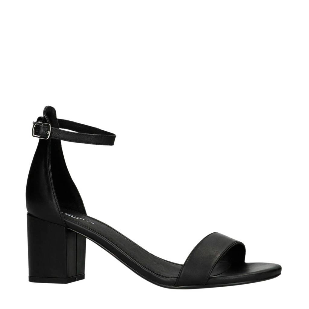 Sacha leren sandalettes zwart, Zwart