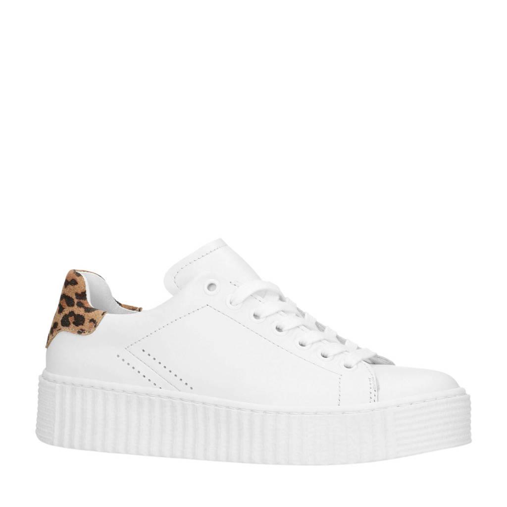 Sacha  leren sneakers wit, Wit/bruin