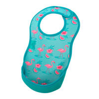 Bibetta slab met flamingo's turquoise, Flamingo turquoise